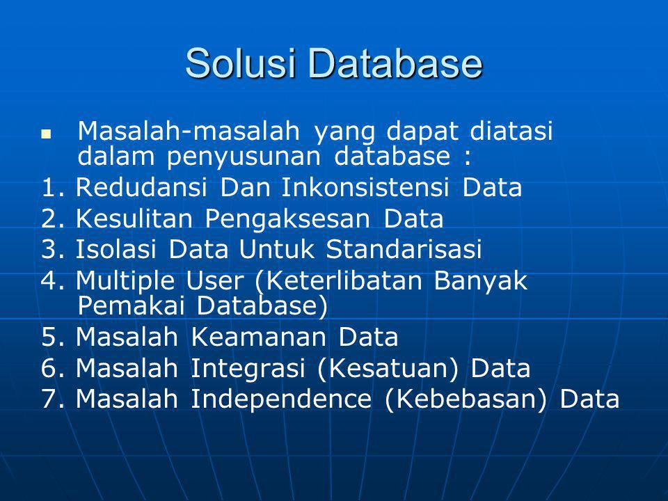 Solusi Database Masalah-masalah yang dapat diatasi dalam penyusunan database : 1. Redudansi Dan Inkonsistensi Data.