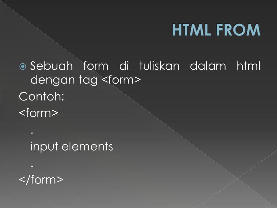 HTML FROM Sebuah form di tuliskan dalam html dengan tag <form>