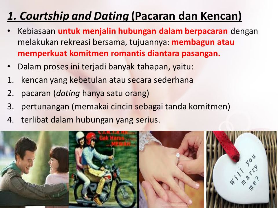 1. Courtship and Dating (Pacaran dan Kencan)