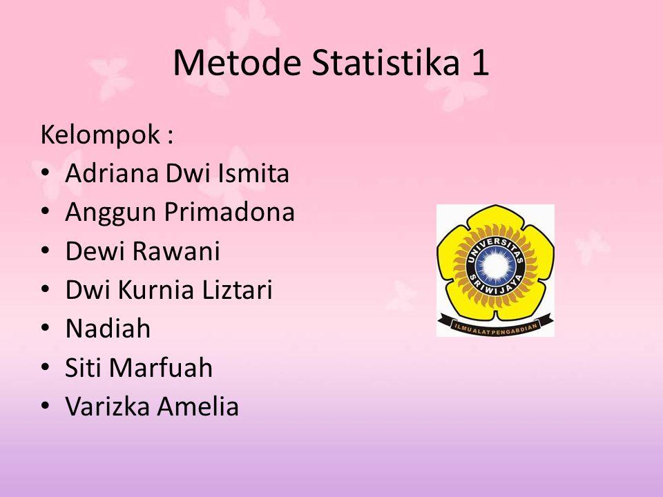 Metode Statistika 1 Kelompok : Adriana Dwi Ismita Anggun Primadona