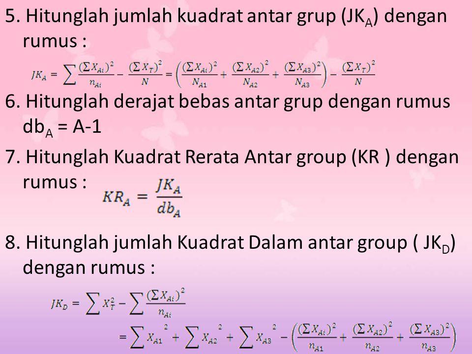 5. Hitunglah jumlah kuadrat antar grup (JKA) dengan rumus :
