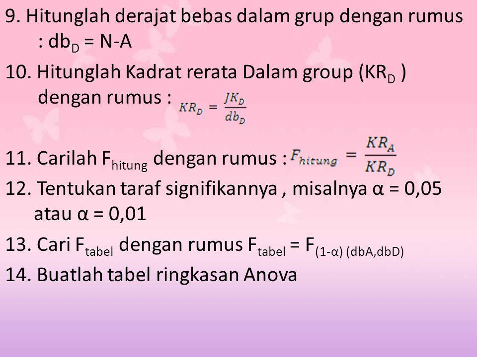 9. Hitunglah derajat bebas dalam grup dengan rumus : dbD = N-A