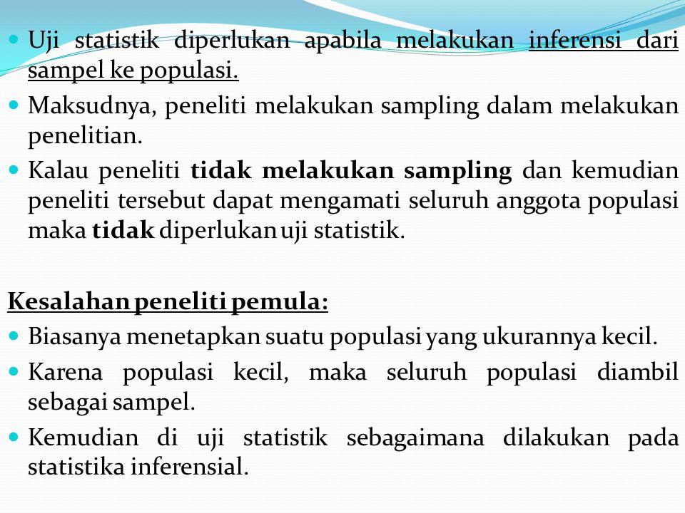 Uji statistik diperlukan apabila melakukan inferensi dari sampel ke populasi.