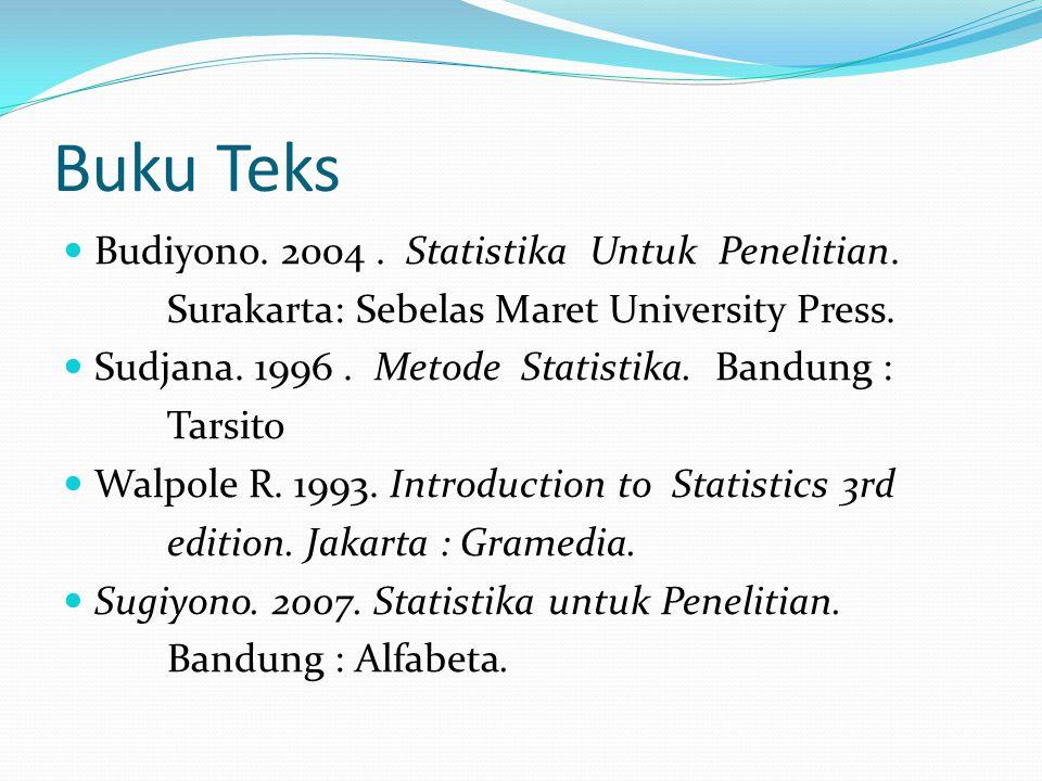 Buku Teks Budiyono. 2004 . Statistika Untuk Penelitian.