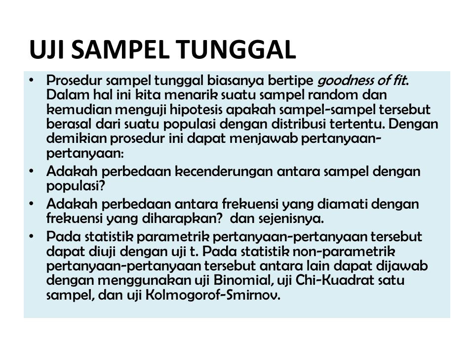 UJI SAMPEL TUNGGAL