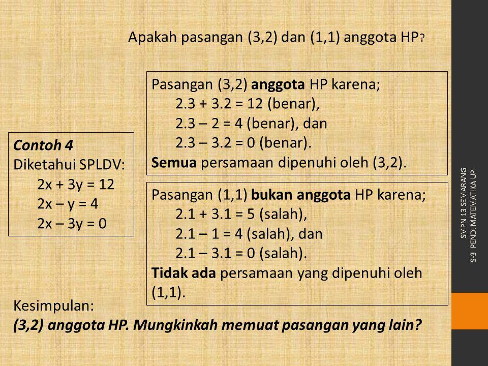 Apakah pasangan (3,2) dan (1,1) anggota HP