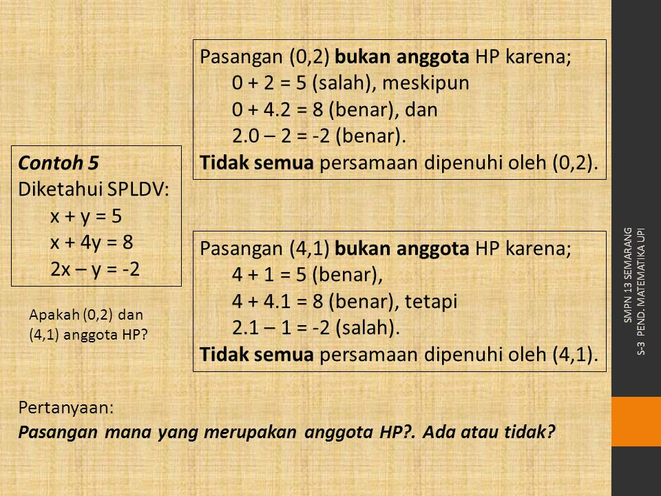 Pasangan (0,2) bukan anggota HP karena; 0 + 2 = 5 (salah), meskipun