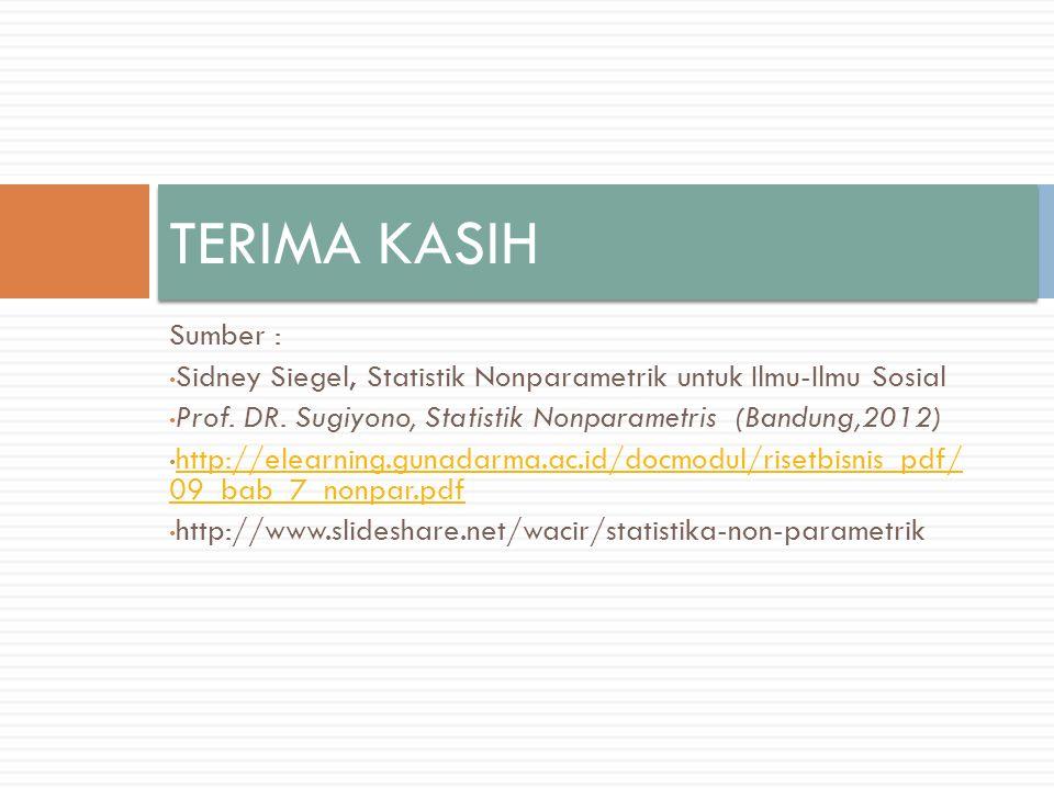 TERIMA KASIH Sumber : Sidney Siegel, Statistik Nonparametrik untuk Ilmu-Ilmu Sosial. Prof. DR. Sugiyono, Statistik Nonparametris (Bandung,2012)