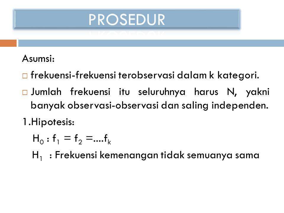 PROSEDUR Asumsi: frekuensi-frekuensi terobservasi dalam k kategori.