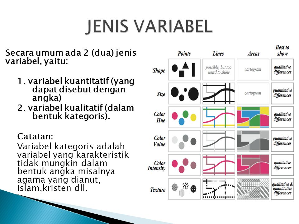 JENIS VARIABEL Secara umum ada 2 (dua) jenis variabel, yaitu: