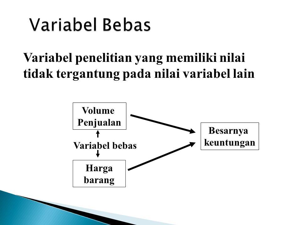 Variabel Bebas Variabel penelitian yang memiliki nilai
