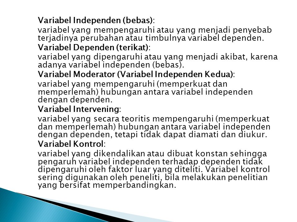 Variabel Independen (bebas):