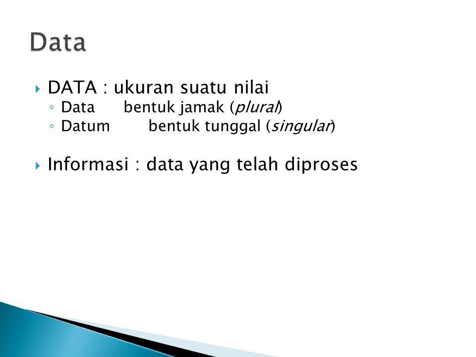 Data DATA : ukuran suatu nilai Informasi : data yang telah diproses