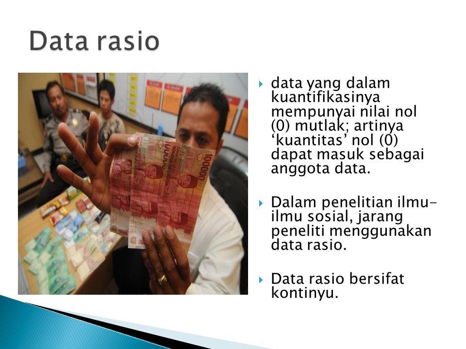 Data rasio data yang dalam kuantifikasinya mempunyai nilai nol (0) mutlak; artinya 'kuantitas' nol (0) dapat masuk sebagai anggota data.
