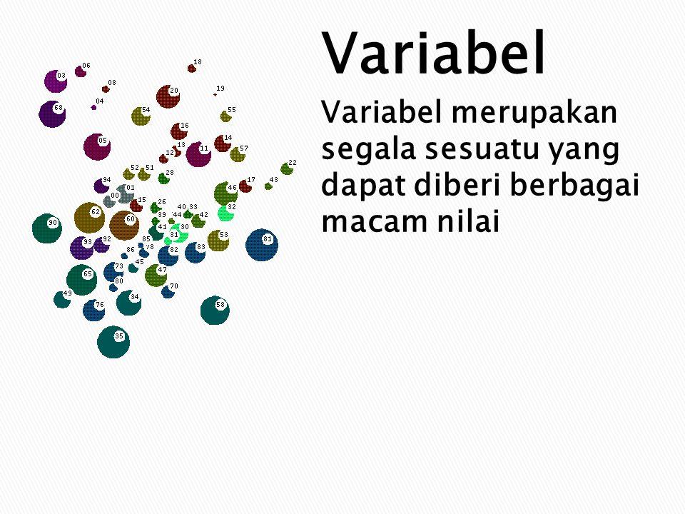 Variabel Variabel merupakan segala sesuatu yang dapat diberi berbagai macam nilai