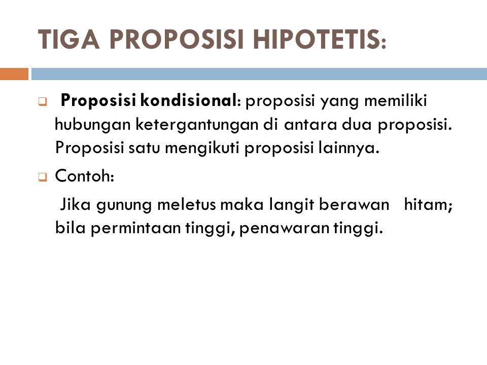TIGA PROPOSISI HIPOTETIS:
