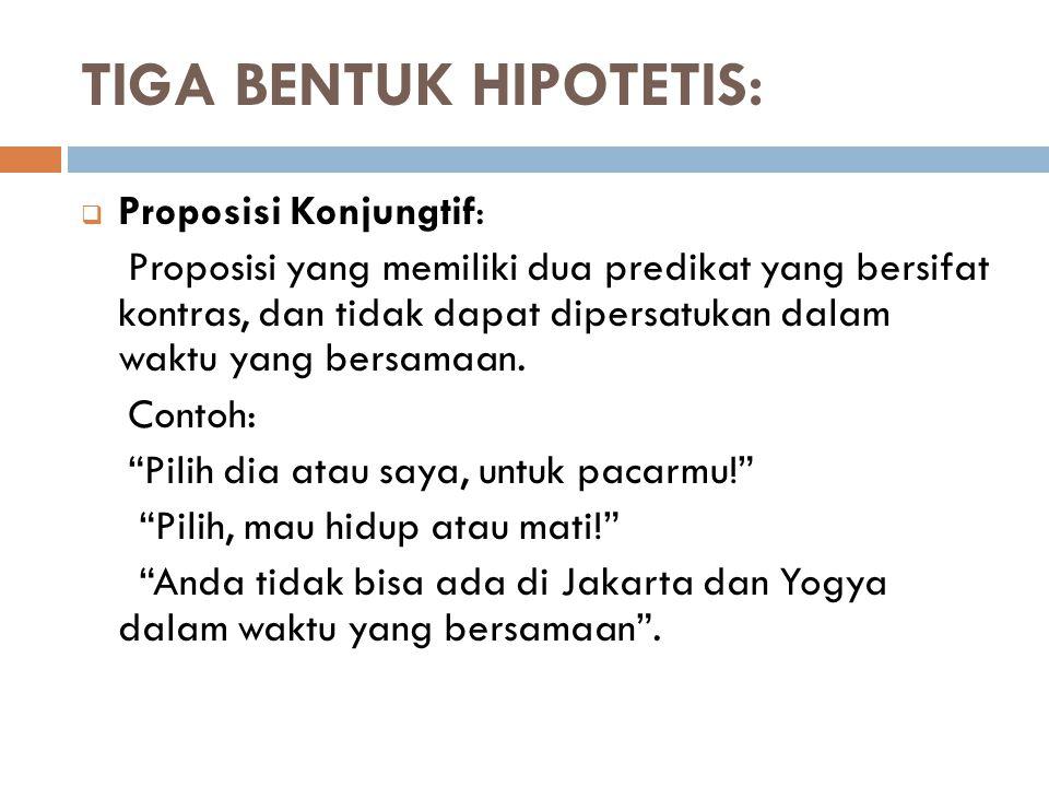 TIGA BENTUK HIPOTETIS: