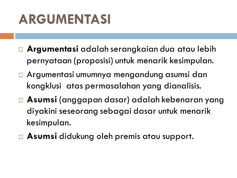 ARGUMENTASI Argumentasi adalah serangkaian dua atau lebih pernyataan (proposisi) untuk menarik kesimpulan.