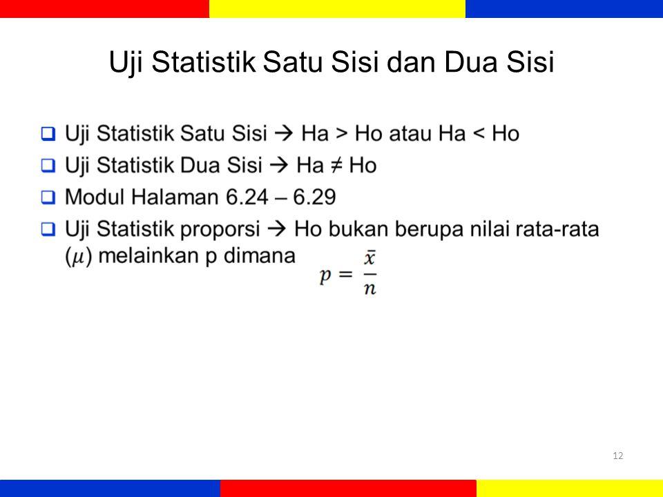 Uji Statistik Satu Sisi dan Dua Sisi