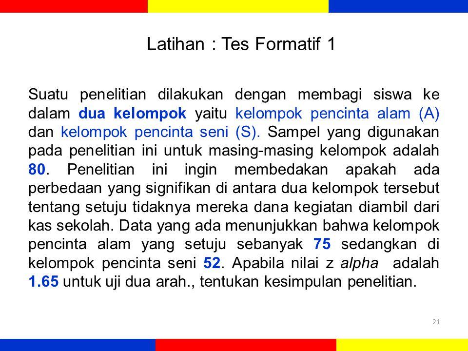 Latihan : Tes Formatif 1