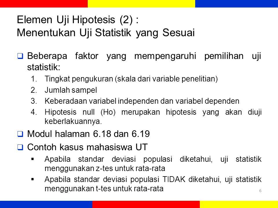 Elemen Uji Hipotesis (2) : Menentukan Uji Statistik yang Sesuai