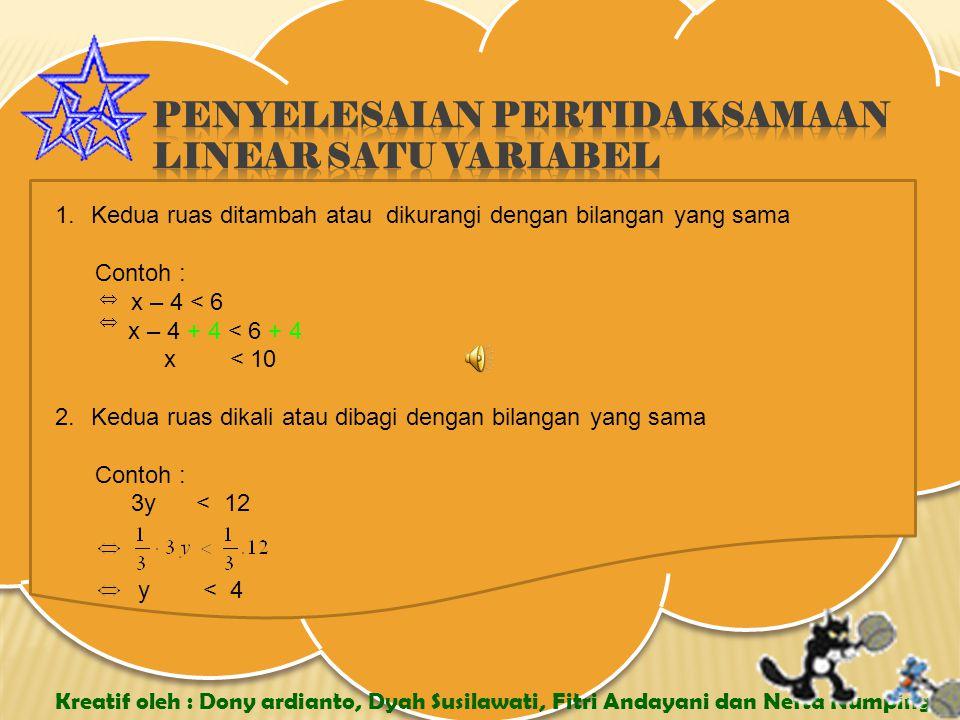 Penyelesaian pertidaksamaan linear satu variabel