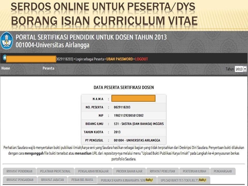 SERDOS ONLINE UNTUK Peserta/dys borang isian curriculum vitae