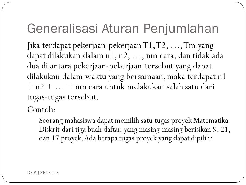 Generalisasi Aturan Penjumlahan