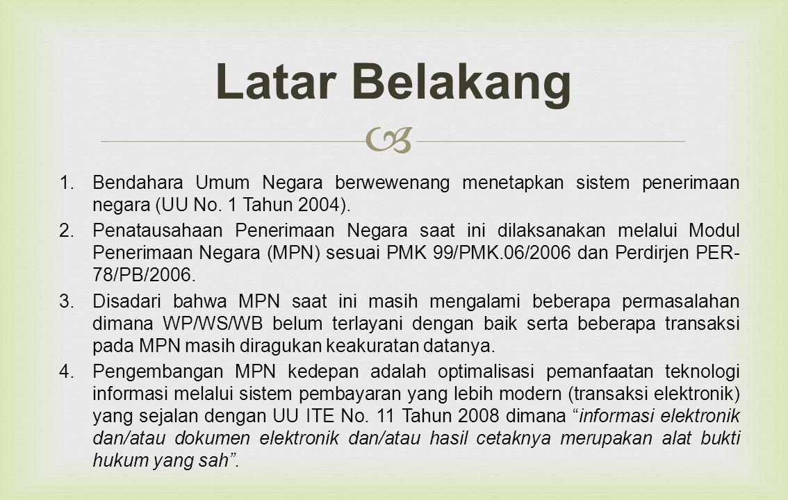 Latar Belakang Bendahara Umum Negara berwewenang menetapkan sistem penerimaan negara (UU No. 1 Tahun 2004).