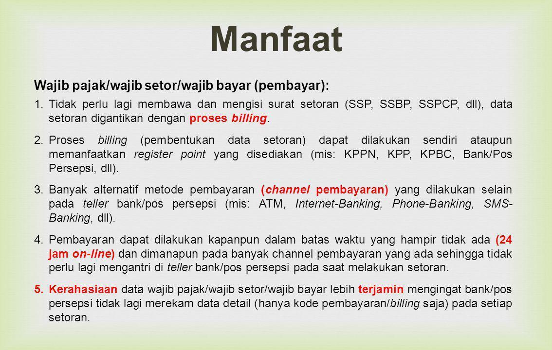 Manfaat Wajib pajak/wajib setor/wajib bayar (pembayar):