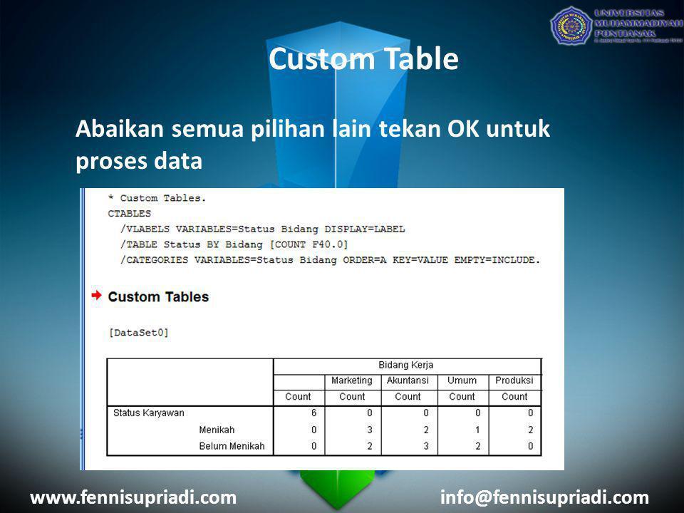 Custom Table Abaikan semua pilihan lain tekan OK untuk proses data