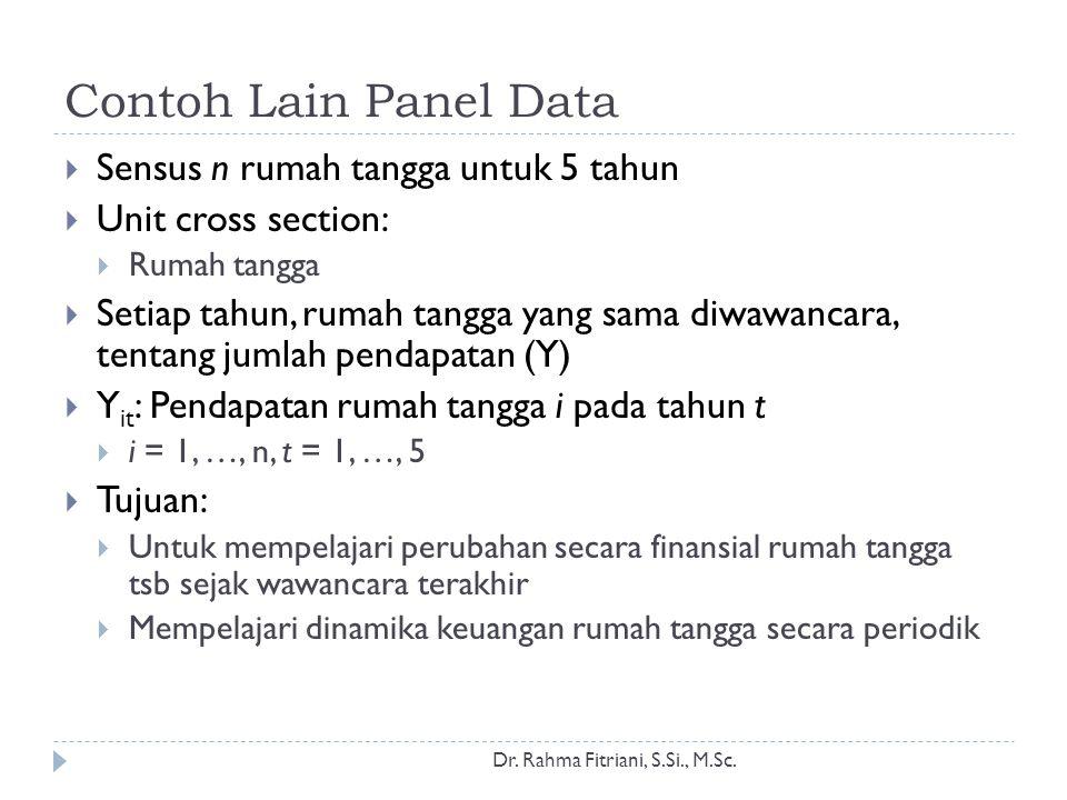 Contoh Lain Panel Data Sensus n rumah tangga untuk 5 tahun