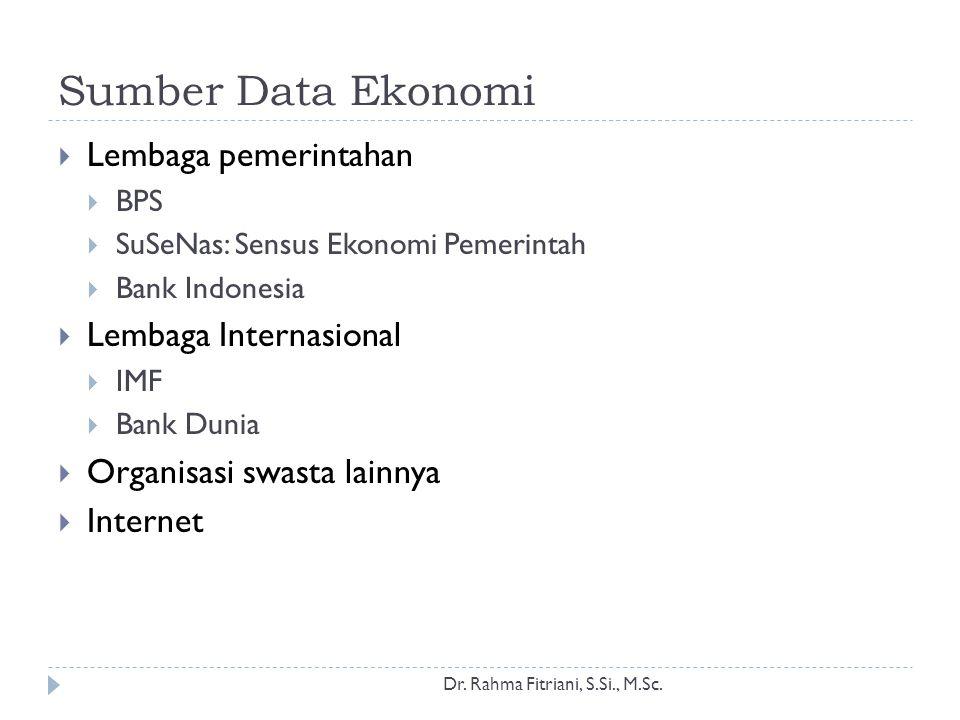 Sumber Data Ekonomi Lembaga pemerintahan Lembaga Internasional