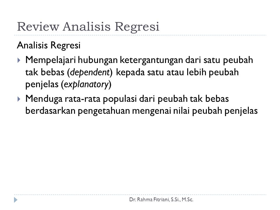 Review Analisis Regresi