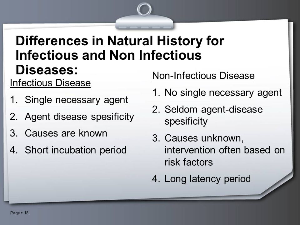 Differences in Natural History for Infectious and Non Infectious Diseases: