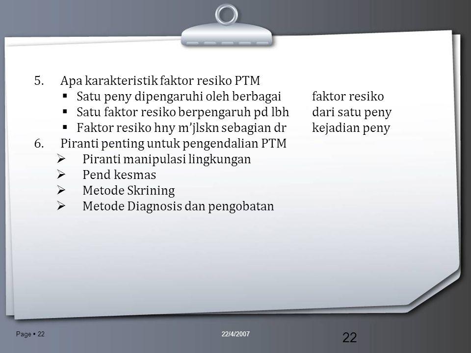Apa karakteristik faktor resiko PTM