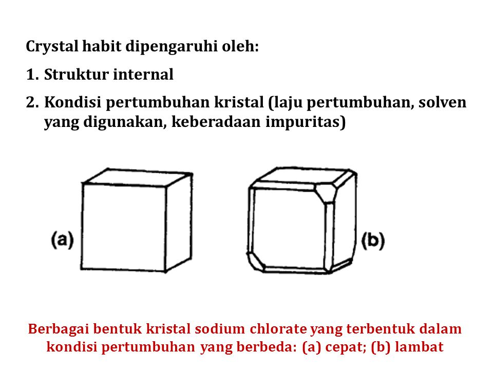 Crystal habit dipengaruhi oleh: Struktur internal