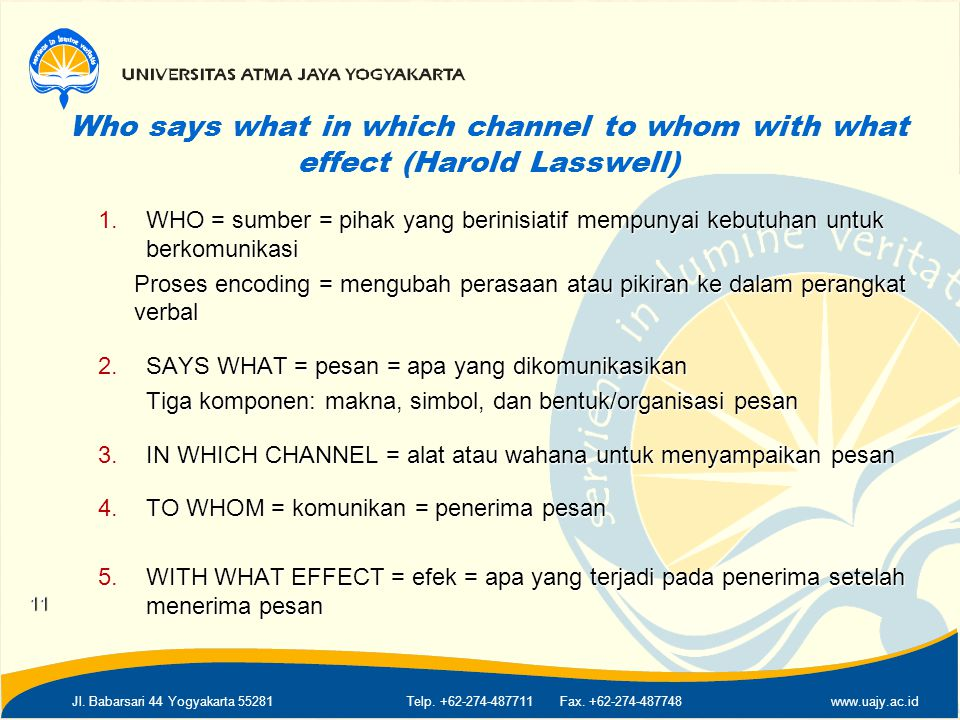 Who says what in which channel to whom with what effect (Harold Lasswell)