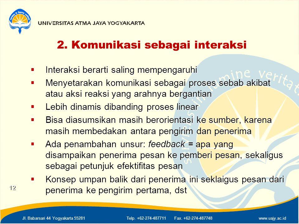 2. Komunikasi sebagai interaksi