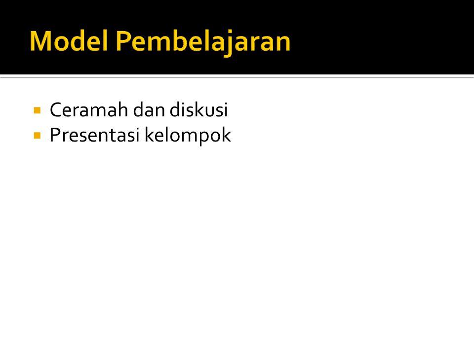 Model Pembelajaran Ceramah dan diskusi Presentasi kelompok