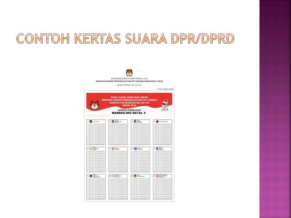Contoh kertas suara DPR/DPRD