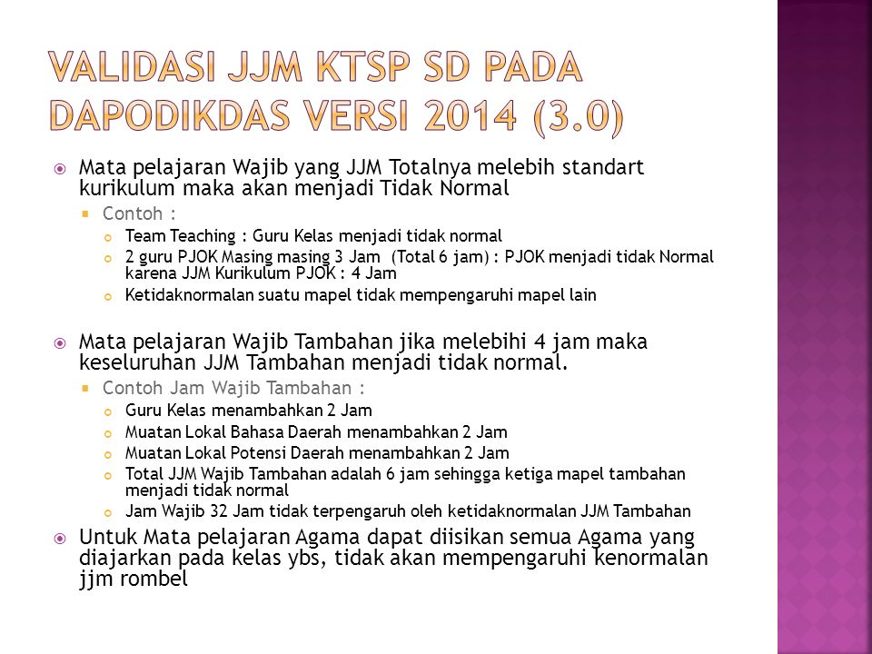 VALIDASI JJM KTSP SD PADA DAPODIKDAS VERSI 2014 (3.0)