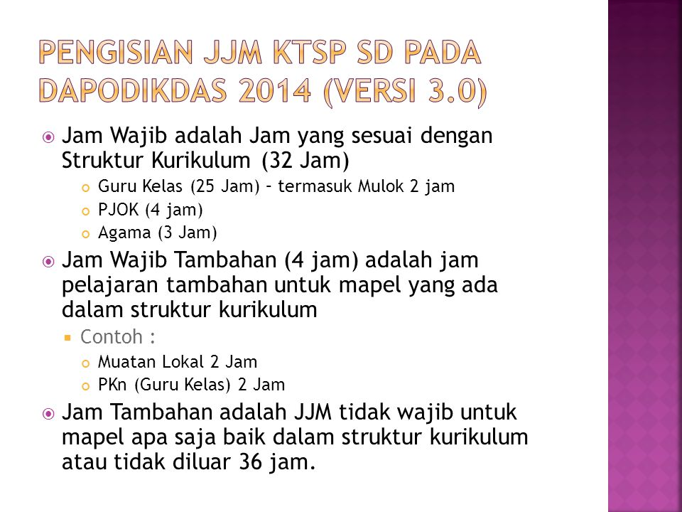 PENGISIAN JJM KTSP SD PADA DAPODIKDAS 2014 (versi 3.0)