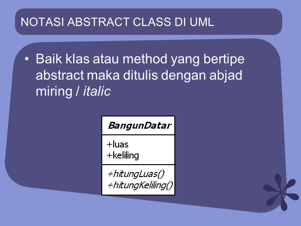 NOTASI ABSTRACT CLASS DI UML