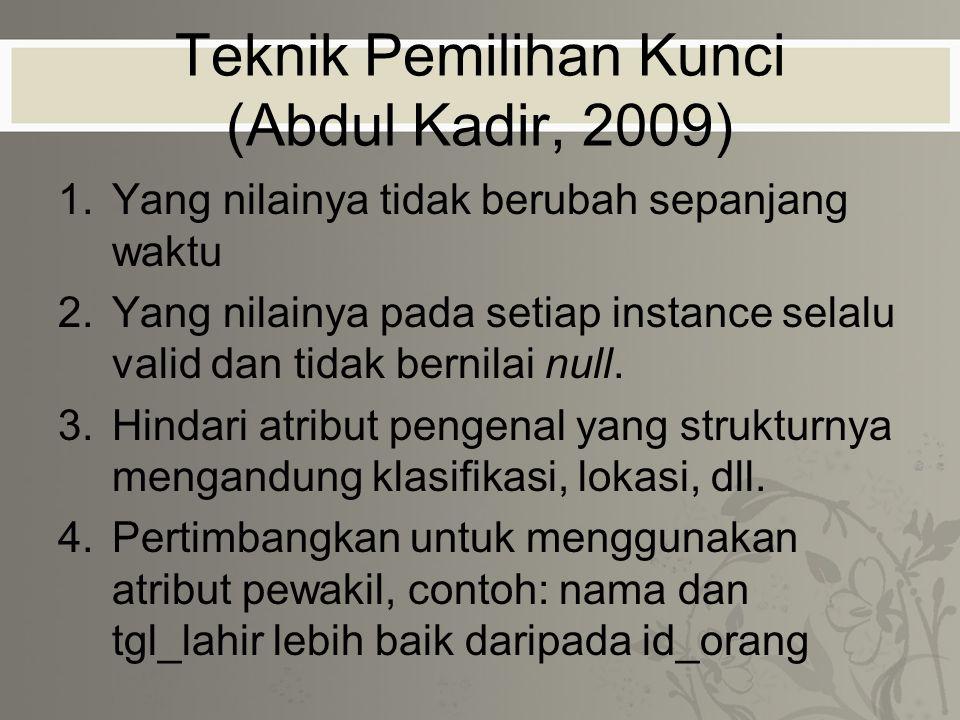 Teknik Pemilihan Kunci (Abdul Kadir, 2009)