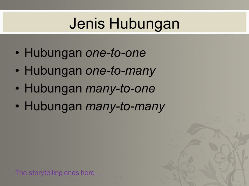 Jenis Hubungan Hubungan one-to-one Hubungan one-to-many