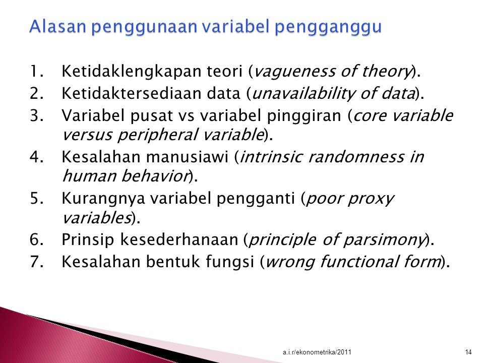 Alasan penggunaan variabel pengganggu