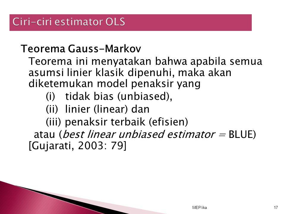 Ciri-ciri estimator OLS