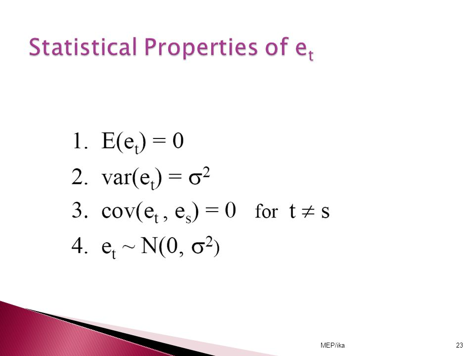 Statistical Properties of et