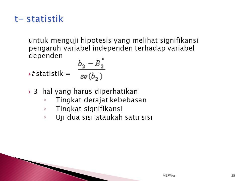 t- statistik untuk menguji hipotesis yang melihat signifikansi pengaruh variabel independen terhadap variabel dependen.